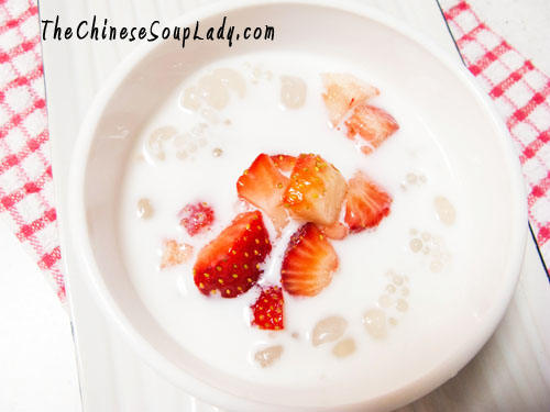 Chilled Coconut Milk with Tapioca Pearls and Strawberries